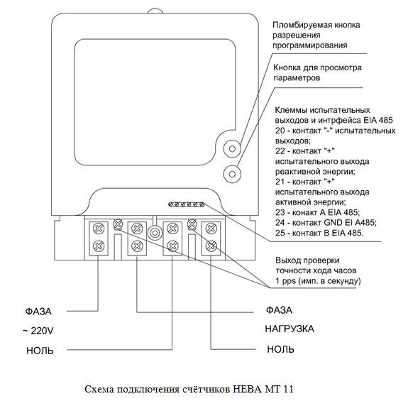 Схема подключения счётчиков НЕВА МТ 11.